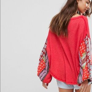 Free People Ballon Sleeves Red Thermal